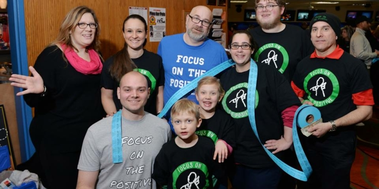 Capital District residents from near and far gathered at a fund raiser for Noah Roman at Spare Time Lanes in Latham on Sunday, Feb. 14. Front row, left to right: Eric Meizner, Henry Michaels, Amelia Michaels, Jill Saricopoilos. Back row, left to right, Elizabeth Michaels, Elizabeth Hess, im Stowell, James Stowell and Don D'angelis. Photo by T.R. Laz