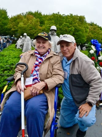 World War II veteran Betty Clark and guardian Jim Gilbert at the Korean War Memorial, Oct. 3, 2015. Submitted photo