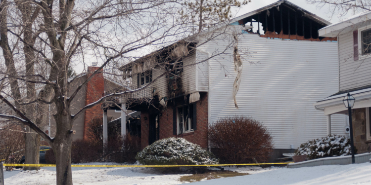 The scene of a murder-suicide and fire in Latham.