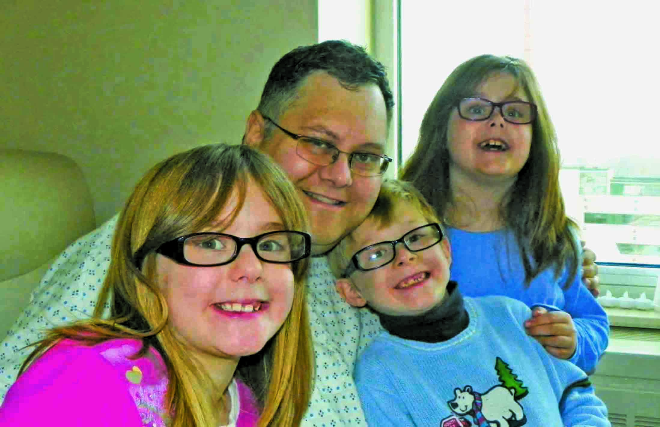 The triplets join Harlan during one of his recent hospital stays. The Steuer family has had to learn a lot of frightening new vocabulary words as they navigate Harlan's illness and treatment.