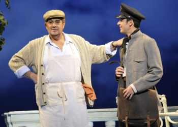 """Daniel Montenegro (right, above) reprises his role as Mario,, The postman in """"Il Postino,"""" directed by Opera Saratoga's General Director Lawrence Edelson (far left.)."""