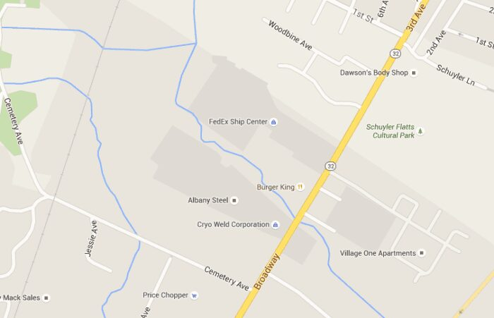 The section of Broadway in Menands where road work will take place through November. Screen shot courtesy of Google Maps