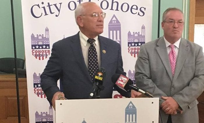 U.S. Representative Paul Tonko (left) and Cohoes Mayor Shawn Morse detail plans for Brownfield remediation in Cohoes.  Kassie Parisi/Spotlight News