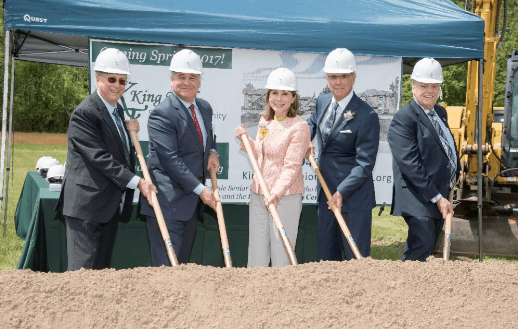 Dr. John D. Bennett, Capital Campaign Chair, Peter Campito, CSSC President of the Board, Kathy Thiel and Eric King, CSSC Board Member, and Ed Neary, CSSC Executive Director (left to right) break ground on the King Thiel Senior Community at 17 Elks Lane on May 19, 2016 at the groundbreaking and naming ceremony. (Submitted photo.)