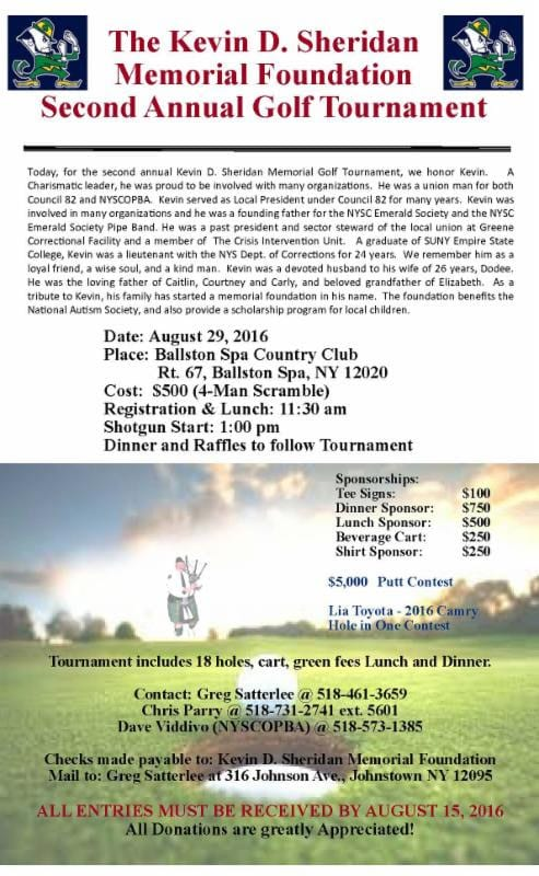 The Kevin D. Sheridan Memorial Foundation 2nd Annual Golf Tournament for Autism @ Ballston Spa Country Club
