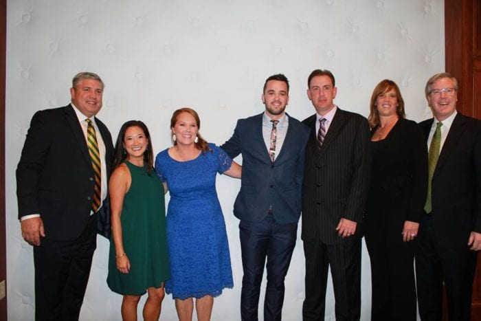 A scene from last year's Coaches vs. Cancer Basket Ball featuring, from left, Jimmy and Michele Patsos (Siena College), Peter Hooley (2015 honoree), Will Brown (University at Albany) and Margaret and Fran McCaffrey (2015 honoree). Submitted photo