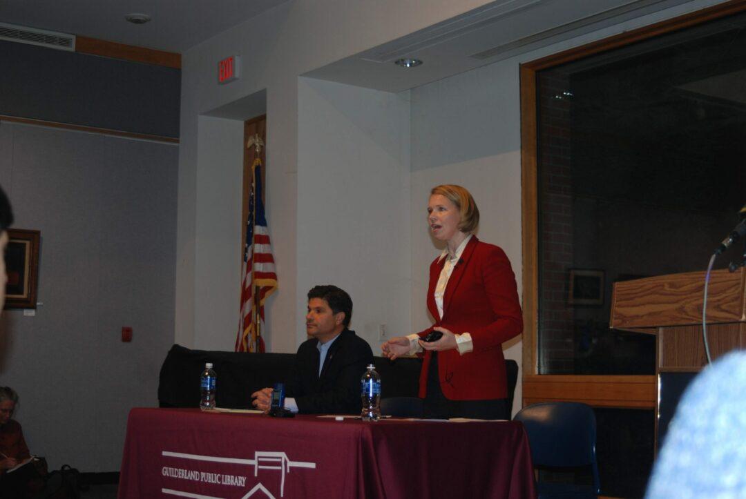 Incumbent Senator George Amedore and challenger Sara Niccoli debate issues raised by the residents of New York's 46th senate district.  // Photo: Ali Hibbs