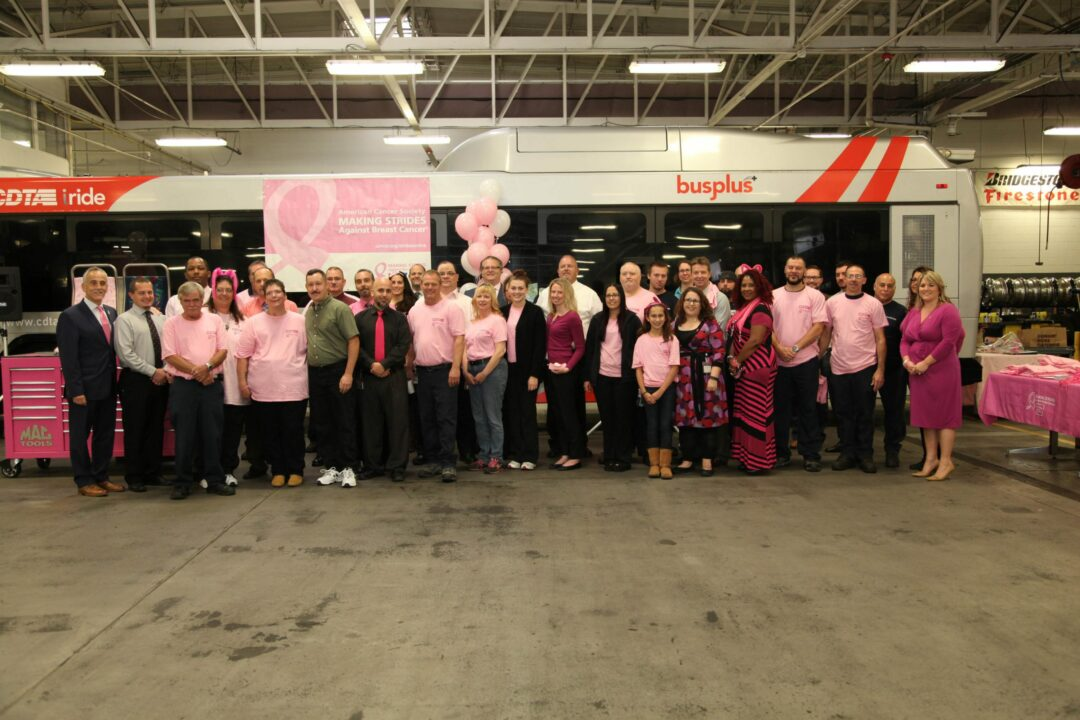 CDTA staff while announcing plans to go pink for the month of October (photo provided)