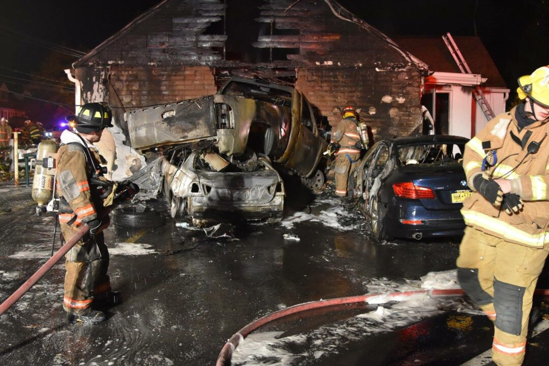 A car smashed into two other vehicles and then into Blessings Tavern on Watervliet Shaker Road before bursting into flames. (photo by Sidewinder Photography/Special to SpotlightNews.com)