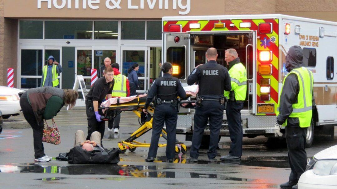 A man hit by a car in the Walmart parking lot in Glenmont. (photo by Tom Heffernan/special to Spotlightnews)