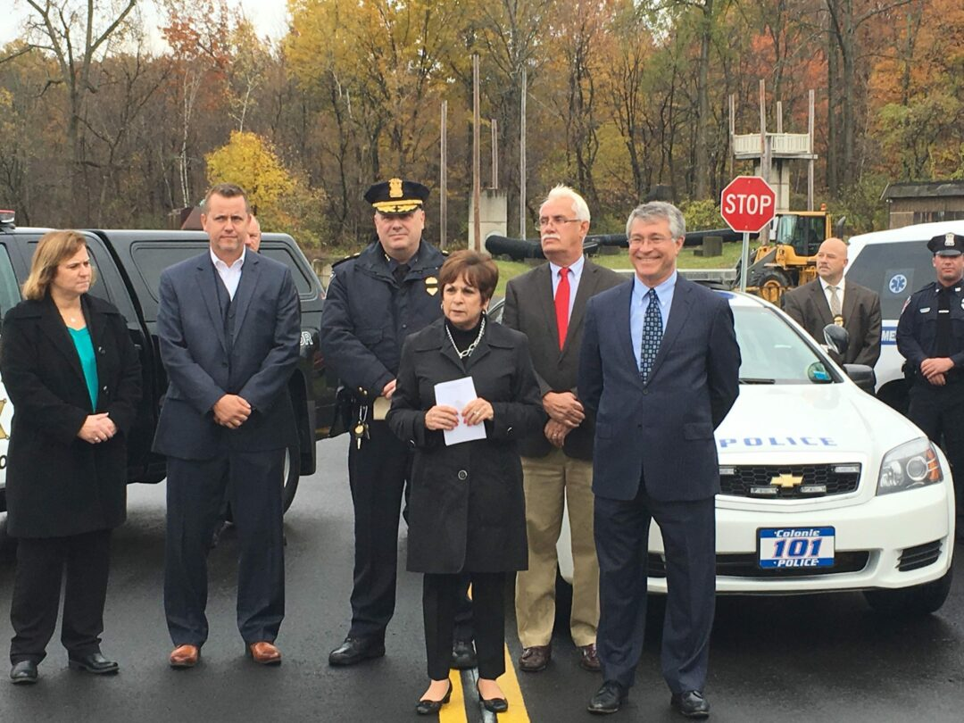 Pictured left to right: Albany County Sherriff Craig Apple, Colonie Police Chief Jonathan Teale, Town Supervisor Paula Mahan, and Assemblyman Phil Steck.  (Kassie Parisi/Spotlight News)