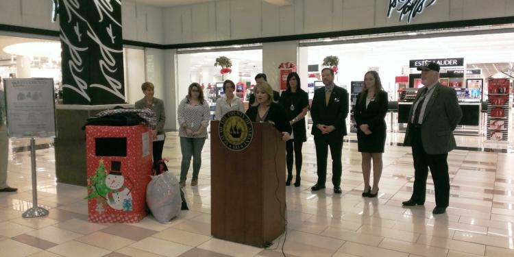 "CDTA's Jaime Watson talks about Saturday's ""Stuff the Bus"" event and CDTA's partnership // Photo courtesy of Albany County"