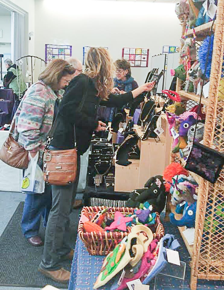 Shoppers peruse handmade goods available for purchase at the B'nai Sholom Fair Trade Market held earlier this year.   (Photo courtesy of Fair Trade Bethlehem)