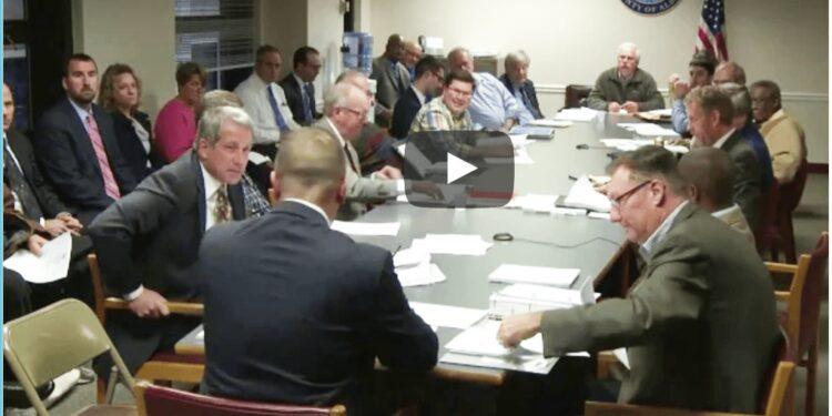 Legislator Mark Grimm questions Sheriff Craig Apple at a recent budget hearing. (photo via YouTube)