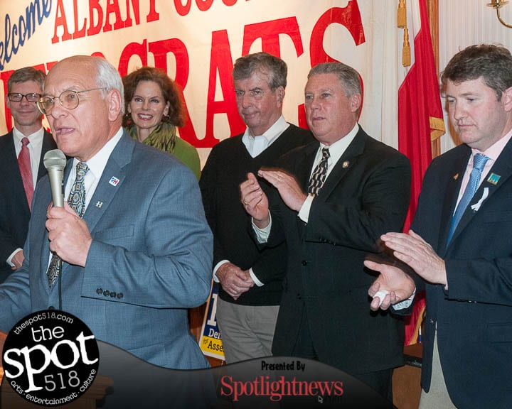 U.S. Rep. Paul Tonko speaks at the Polish American Citizens Club on Election Day (photo by Jim Franco/Spotlight News)