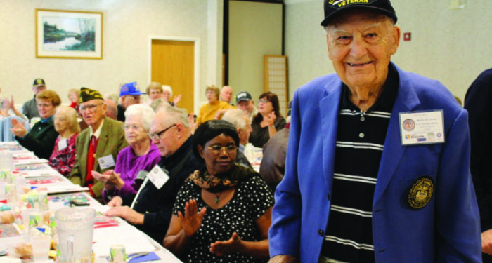 Henry Silvestri, a U.S. Merchant Marine, stands proudly as his name is called at last year's veteran recognition ceremony at the Beltrone Living Center. Submitted photo