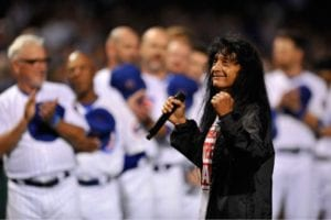 Belladonna sings the National Anthem to open a Chicago Cubs game at Wrigley Field. (Photo from Joey Belladonna/Facebook)