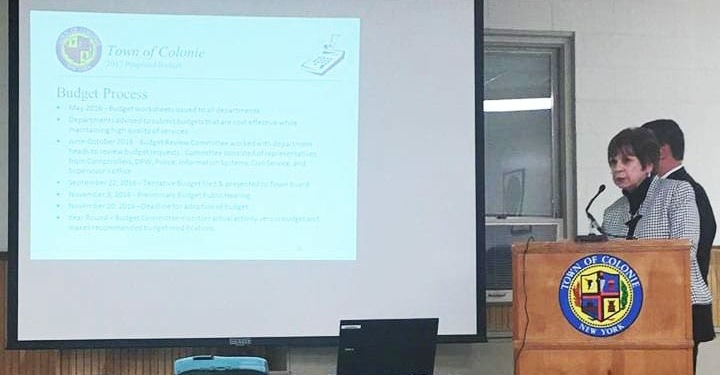 Colonie Supervisor Paula Mahan gives a budget presentation. photo by Kassie Parisi/Spotlight News)
