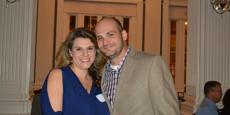 """Scott McIntyre, founder of Athletic Haven, with his fiancé Chana, at the organization's """"What Moves You"""" dinner."""