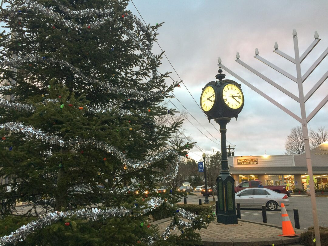 The Christmas tree and menorah at the Four Corners in Delmar.