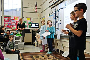 Members of the team which developed the remote-controlled suitcase make their initial pitch to their third grade classmates at Slingerlands Elementary School on Thursday, Dec. 1.  (Photo courtesy of Bethlehem Central School District)