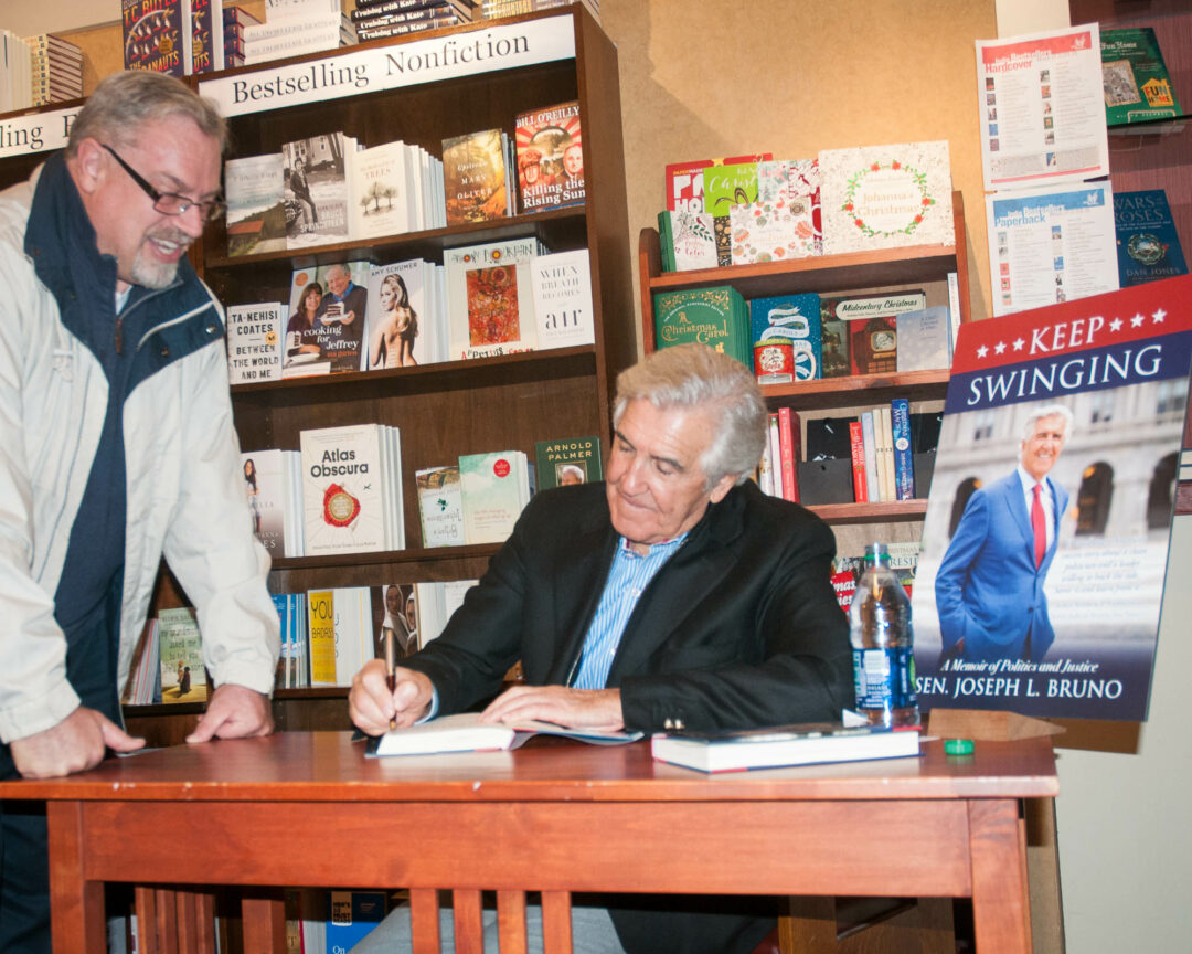 Retired state Senator Joe Bruno at a book signing at the Book House in Stuyvesant Plaza. (Photo by Jim Franco/TheSpot518)