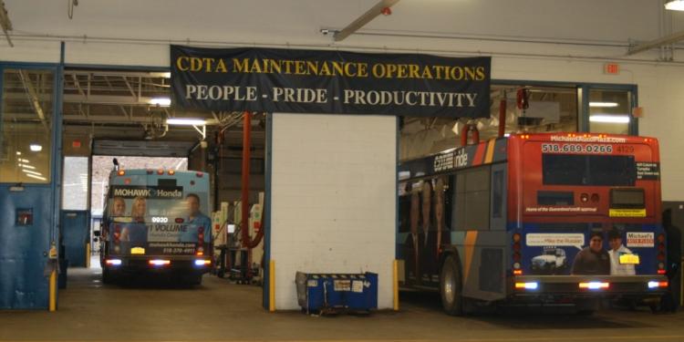 CDTA bus garage at 110 Watervliet Ave. // Photo: Ali Hibbs