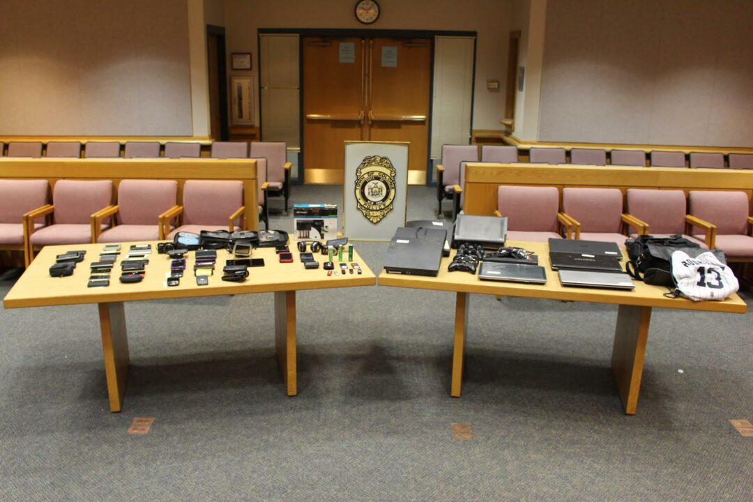 Stolen property currently in the possession of the Colonie Police Department. (Photo via Colonie police)