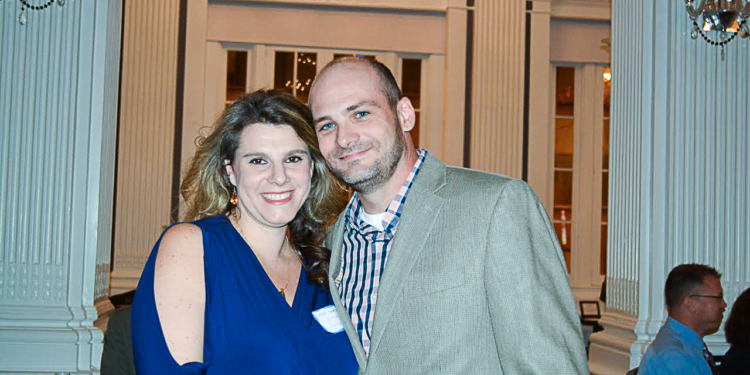 """Scott McIntyre, founder of Athletic Haven, poses for a  photo with his fiancee, Chana, during the organization's """"What Moves You"""" dinner. (Photo submitted)"""