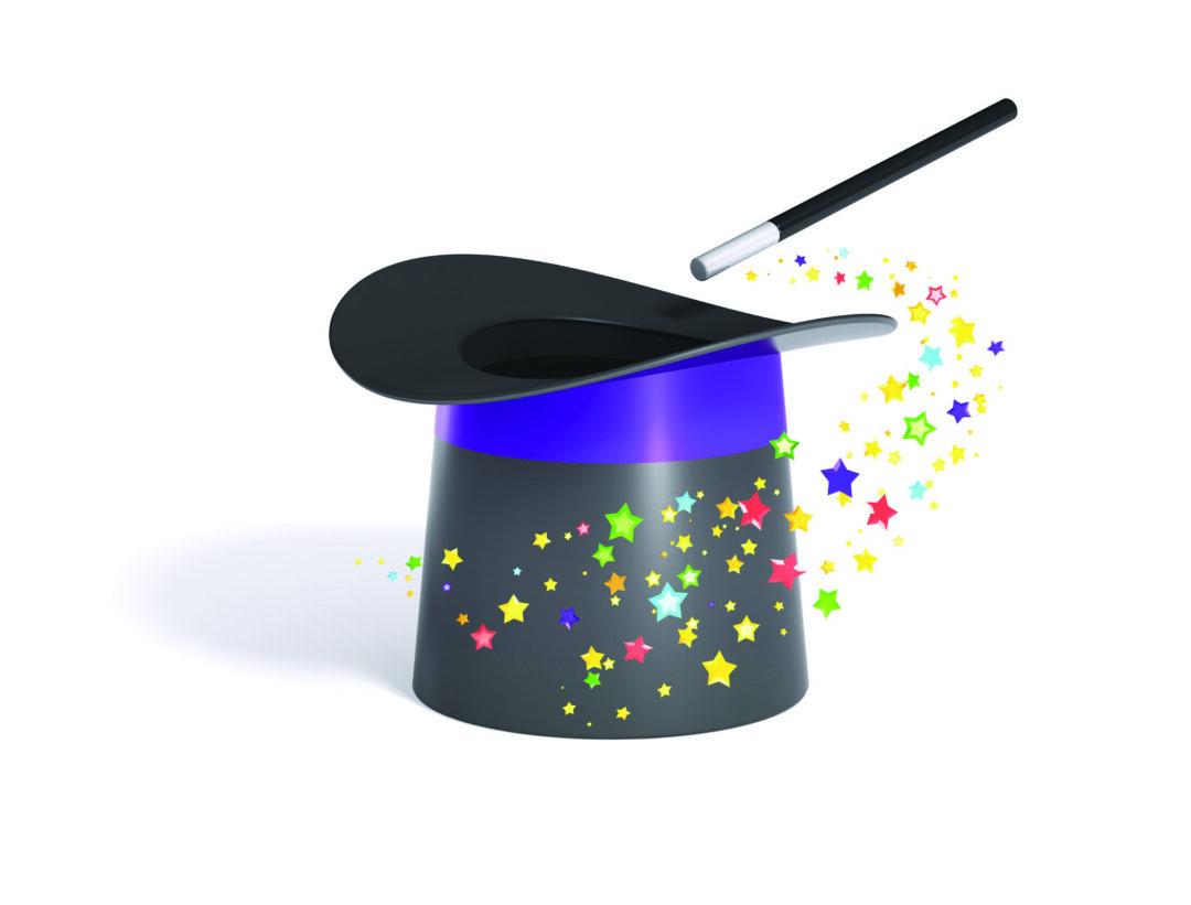 Magic hat and wand with multicolor stars twirl, isolated on white background, with clipping path
