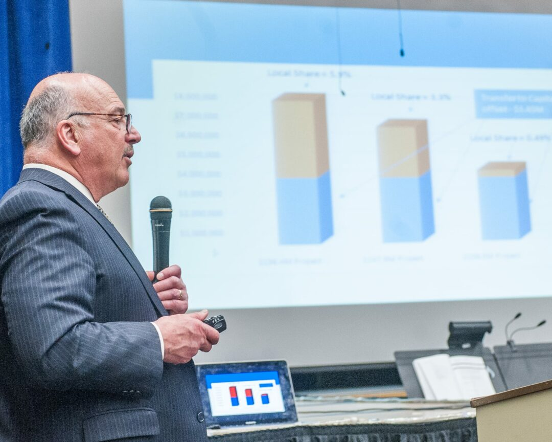 North Colonie Superintendent Joseph Corr speaks at a community forum on Monday, March 20 (Photo by Jim Franco/Spotlight News)