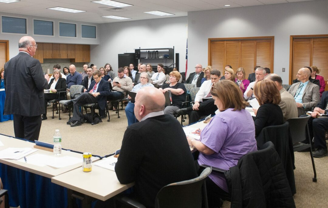 Superintendent Joseph Corr speaks to the Board of Education and the gallery on March 30 (photo by Jim Franco/Spotlight News)