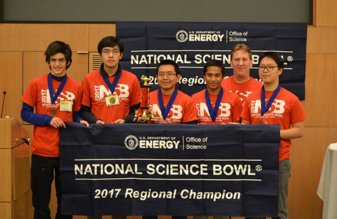 2017 Regional Science Bowl champs L-R: Denali Relles, Eliot Shehktman, Wenyuan Hou (captain), Shamanth Murundi, Paul O'Reilly (coach), and Bowen Chen // Photo: Roger Hou