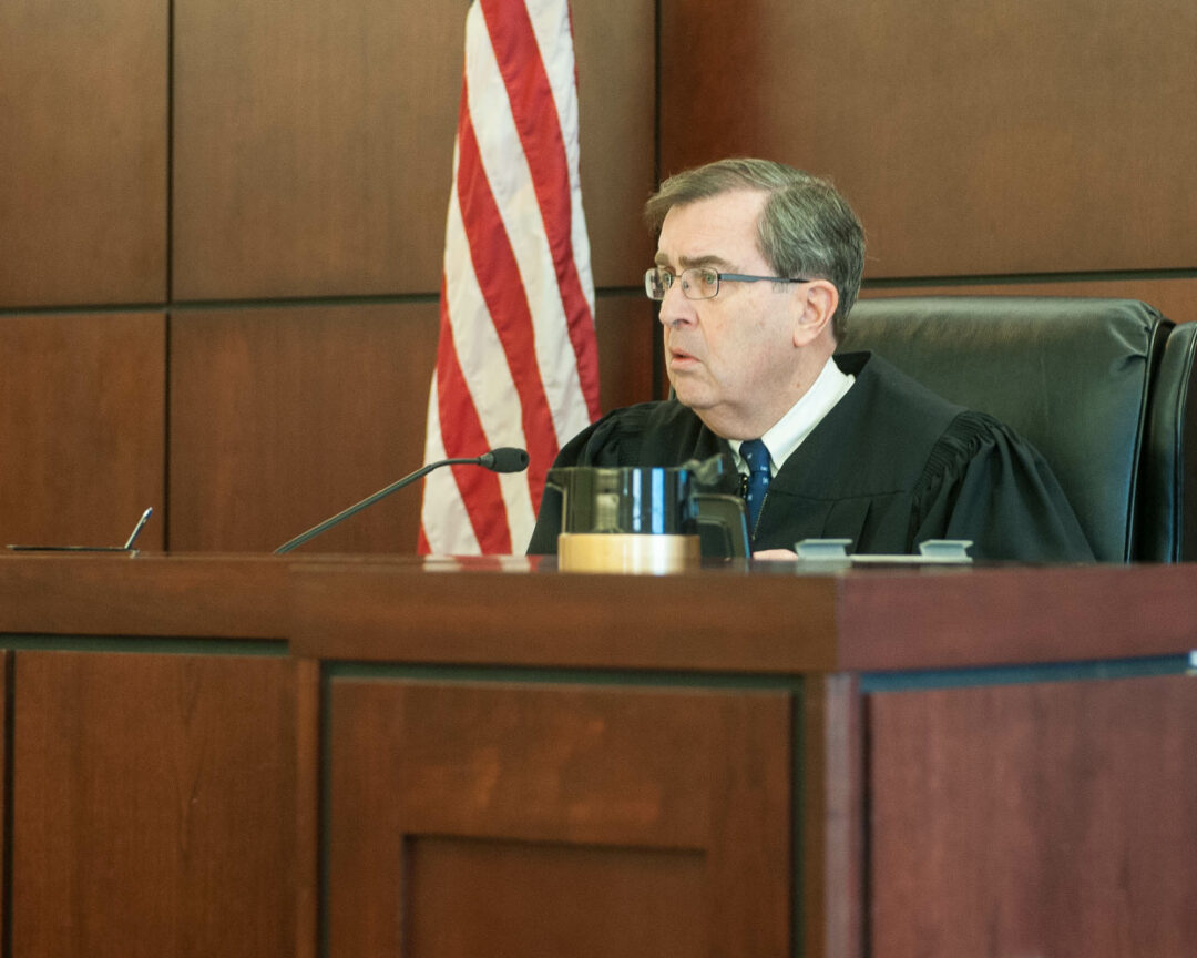 Judge Thomas Breslin while listening to oral arguments in the case against Marina Viviani (Photo by Jim Franco/Spotlight News)