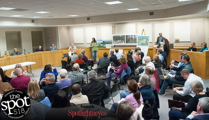 Residents at the Town of Colonie Planning Board meeting discuss the Summit at Forts Ferry Road. (Photo by Jim Franco/Spotlight News)