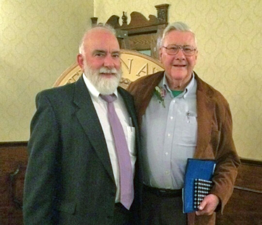 Former Five Rivers Director Craig Thompson (left) and Jefferson Award recipient Robert Greenman during the April 3 ceremony. (photo submitted)