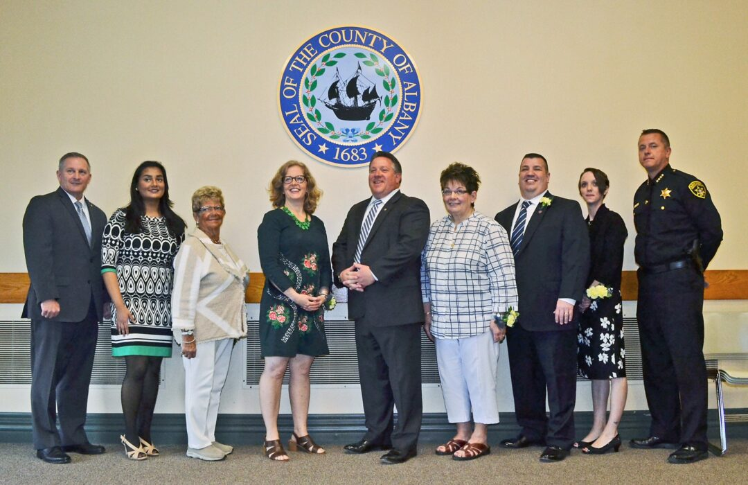 Pictured left to right: Chairman of the Albany County Legislator Sean Ward, Samira Ahmed, Claire Brandt, Cindy Ferrari, County Executive Dan McCoy, Susan McManus, David Rose, Valerie Wasilewski and Albany County Sheriff Craig Apple Sr.  (Photo submitted)