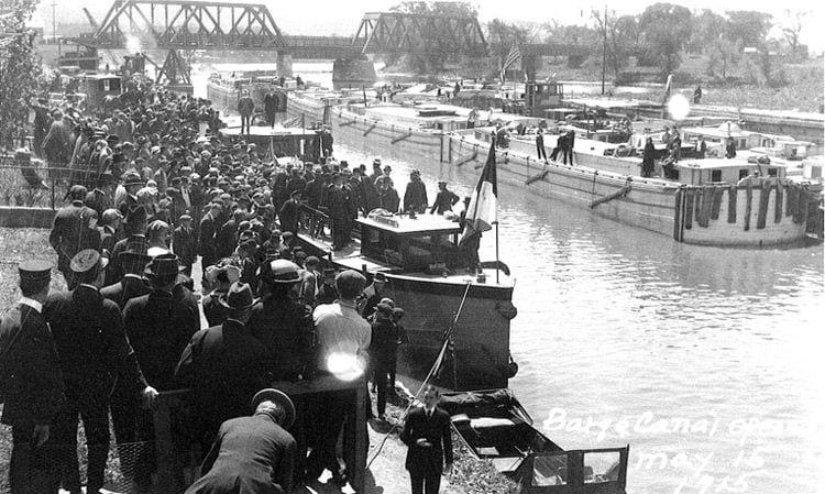 Opening celebration of the Waterford Flight of Locks (Locks E2-E6) in 1915.