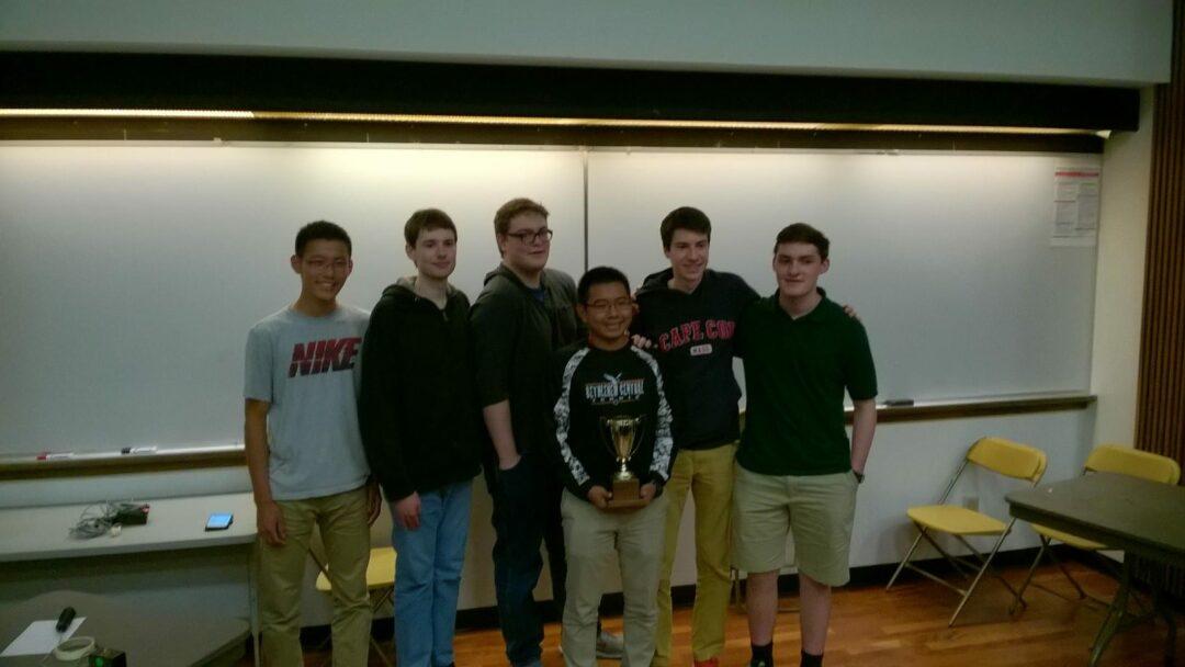 L-R: Boyang Zhou, Jimmy Cody, Alfonzo Prieto, Wenyuan Hou (holding trophy), Mike Bartlett, Mike Connolly  // Photo: BCSD