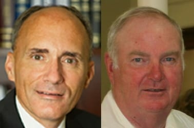 Dan Coffey, left, and Giles Wagoner will not be able to appear on the Democratic ballot line in November, even though they have the overwhelming support of the Democratic Commitee