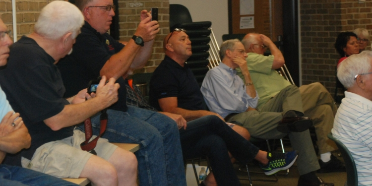Dan Morin, Democratic candidate for Highway Superintendent, recording video at an Aug. 10 committee meeting that ended up in the hands of Dem detractor Keith Wiggand    Photo by Ali Hibbs / Spotlight News