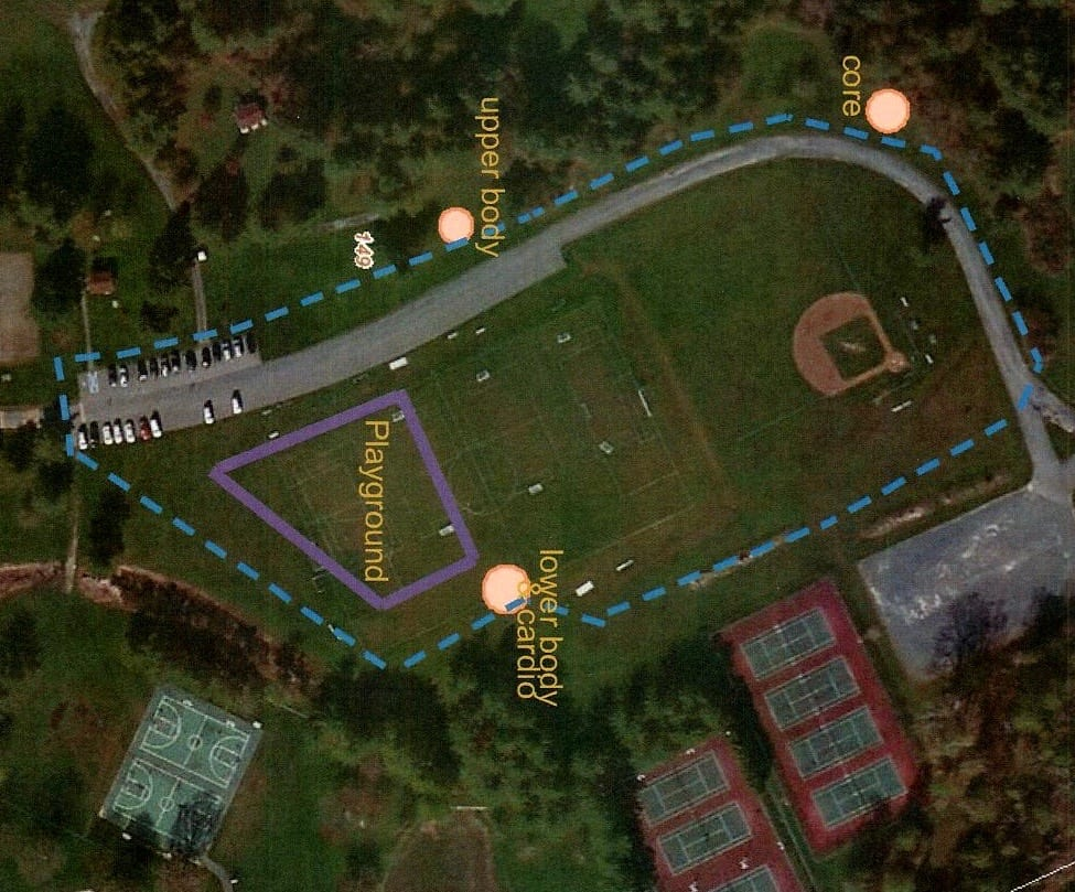 Elm Avenue Park and the locations of workout equipment.  (Photo submitted)