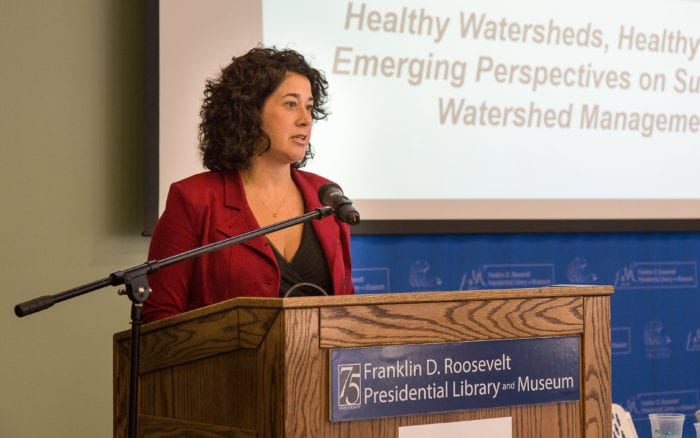 Maureen Cunningham, who serves as the executive director of the Hudson River Watershed Alliance, speaks during the organization's 2016 Watershed Conference at the Franklin D. Roosevelt Presidential Library and Museum in Hyde Park. (Paul Miller photo)