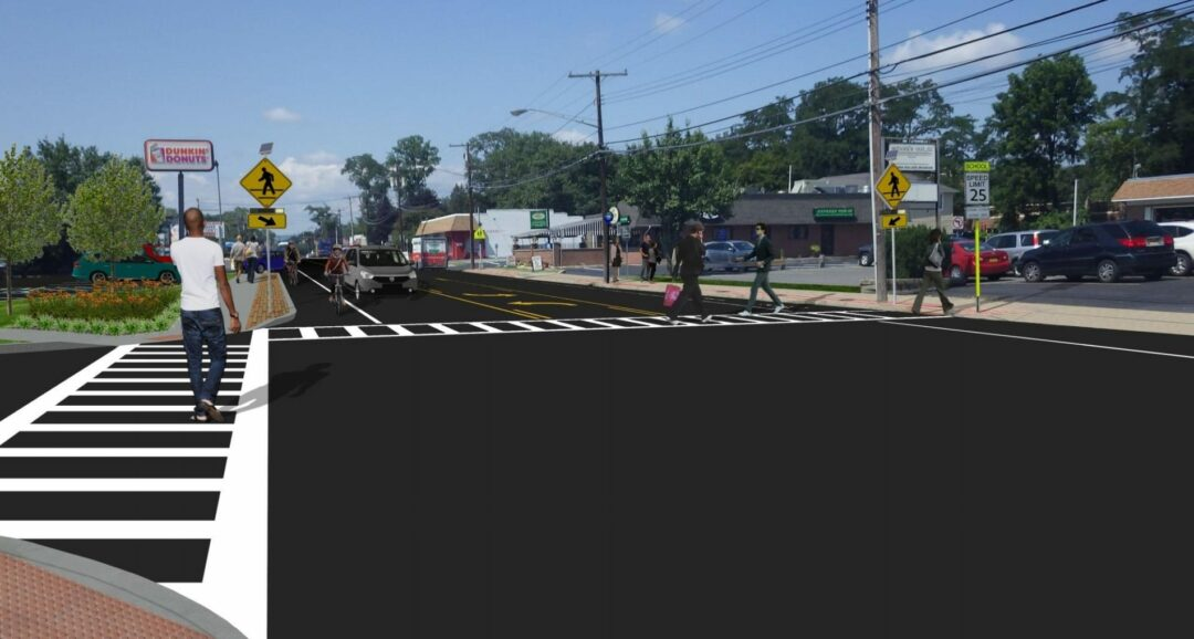 Rendering of potential Complete Streets upgrades at Delaware and Lincoln avenues // Creighton Manning Engineering