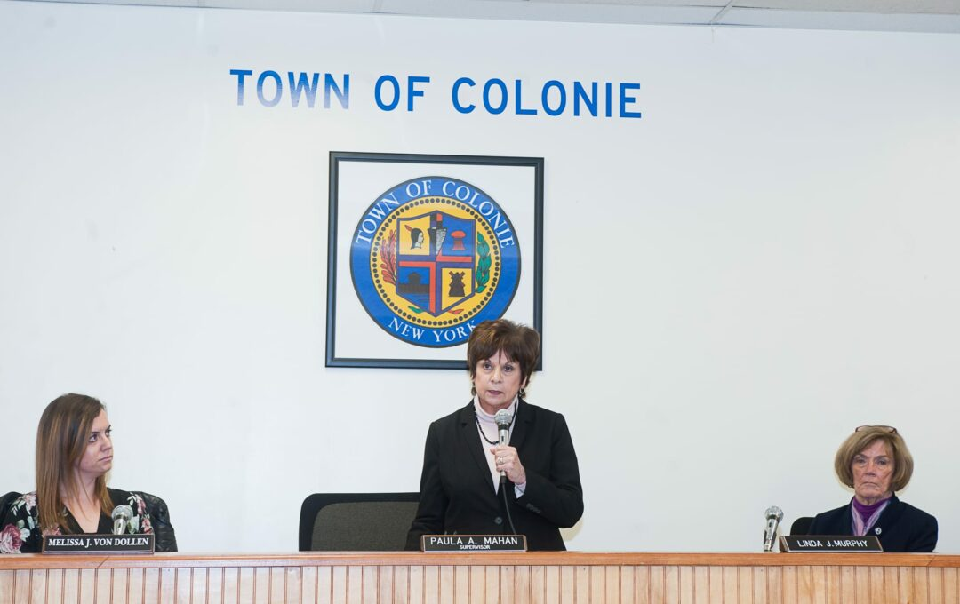Supervisor Paula Mahan gives her State of the Town Address on Thursday, Jan. 18. (Photo by Jim Franco/Spotlight News)