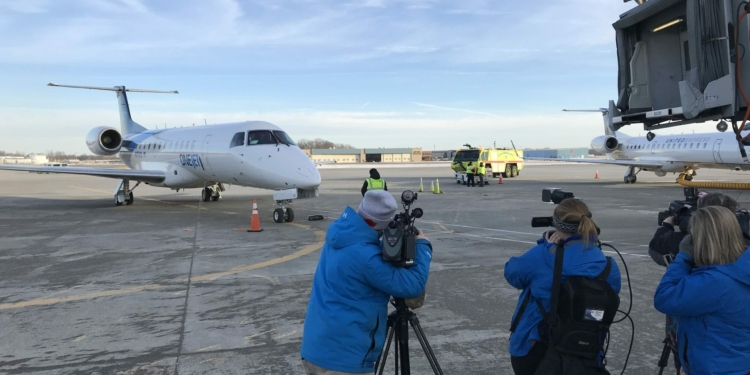 The OneJet airplane at the Albany International Airport. (Photo via the airport)