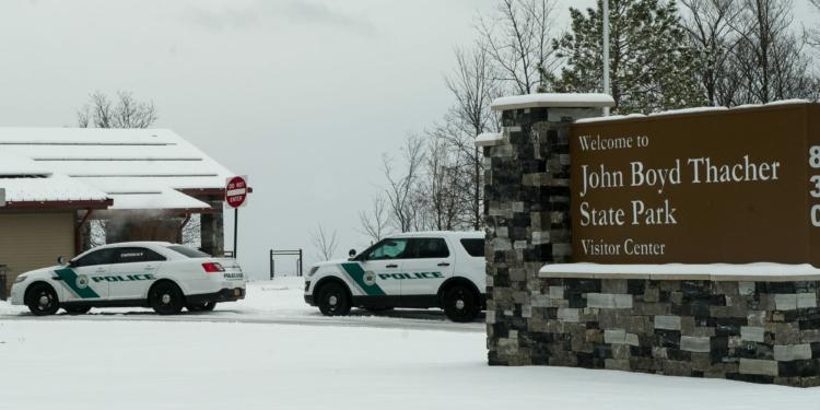 Park Police vehicles parked near the Thacher Park Visitors Center. (Photo by Jim Franco/Spotlight News)