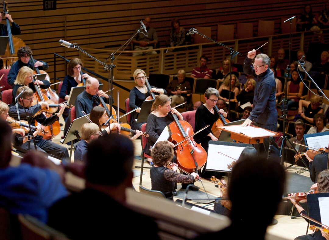 Albany Symphony Orchestra Music Director David Alan Miller conducts before a crowd at Rensselaer's Experimental Media and Performing Arts Center. (Photo provided by Albany Symphony Orchestra)