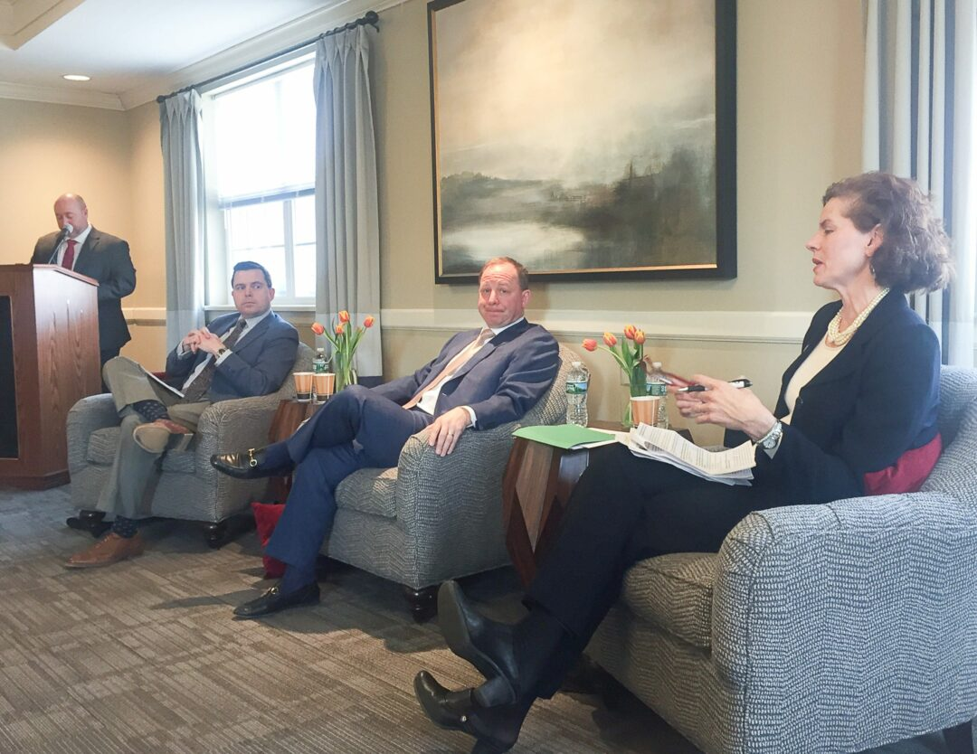 United Group's Chief Operating Officer Jeff Arnold, left, moderates a panel discussion featuring state Assemblywoman Patricia Fahy, attorney Earl T. Redding, and United's President and CEO, Michael Uccellini.  (Photo provided)