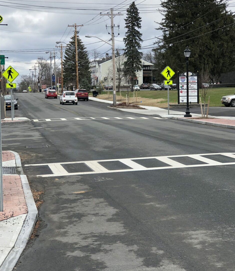 These crosswalks in front of the Spotlight offices on Delaware Avenue at Becker Terrace will soon look similar to ones in downtown Schenectady (pictured below).